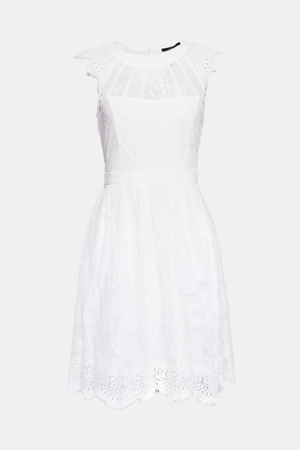 This short, feminine wedding dress in elegant floral lace with decorative straps at the neckline is fit for a princess.
