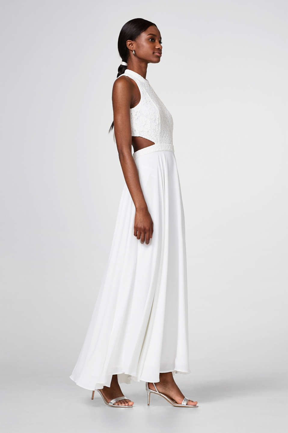 Esprit - Maxi dress with lace top and cut-outs