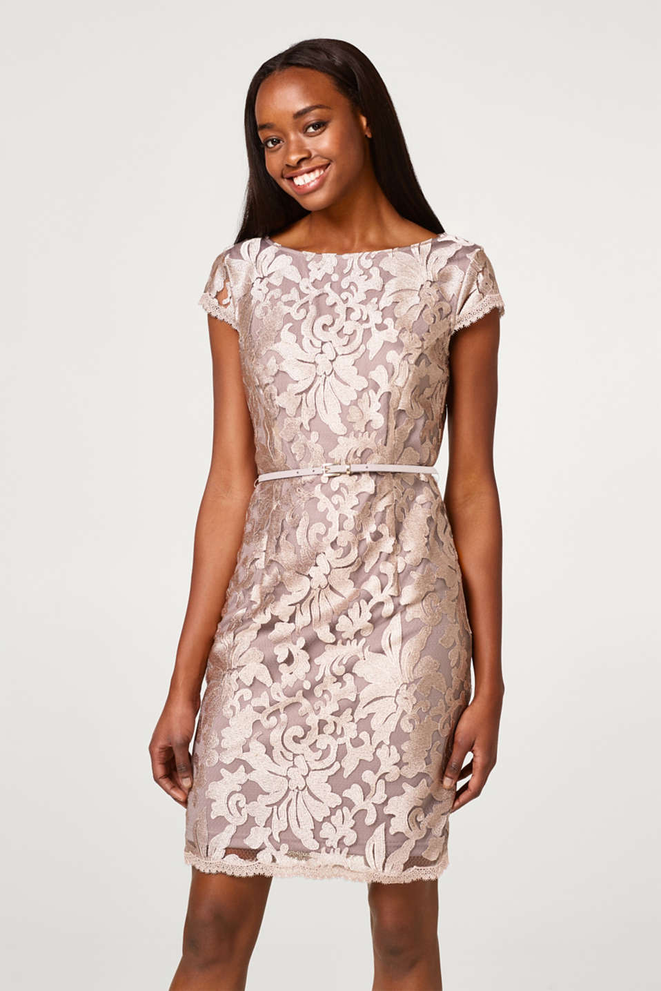 Esprit - Shift dress with lace pattern