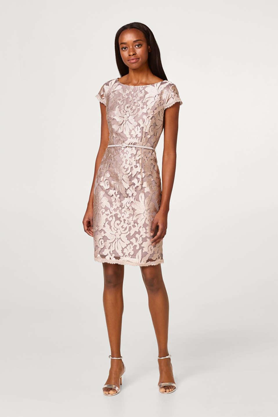 Esprit - Etui-Kleid mit Spitzen-Muster im Online Shop kaufen