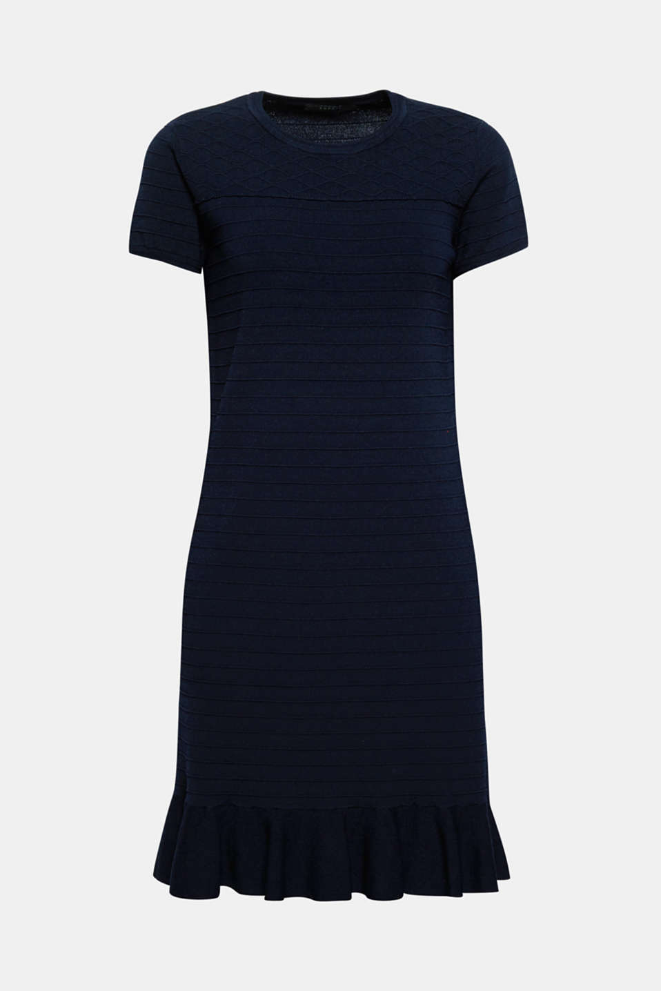 With its different textures and hem flounce, this fine knit dress comes in a sporty feminine mix!