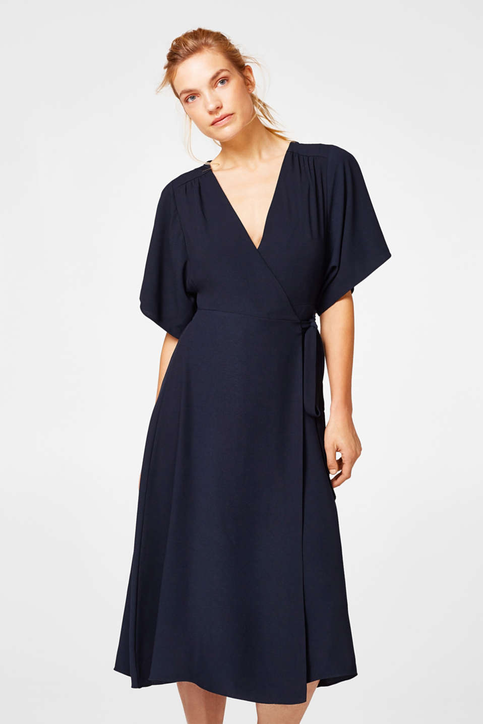 Esprit - Midi crêpe dress with a wrap-over effect