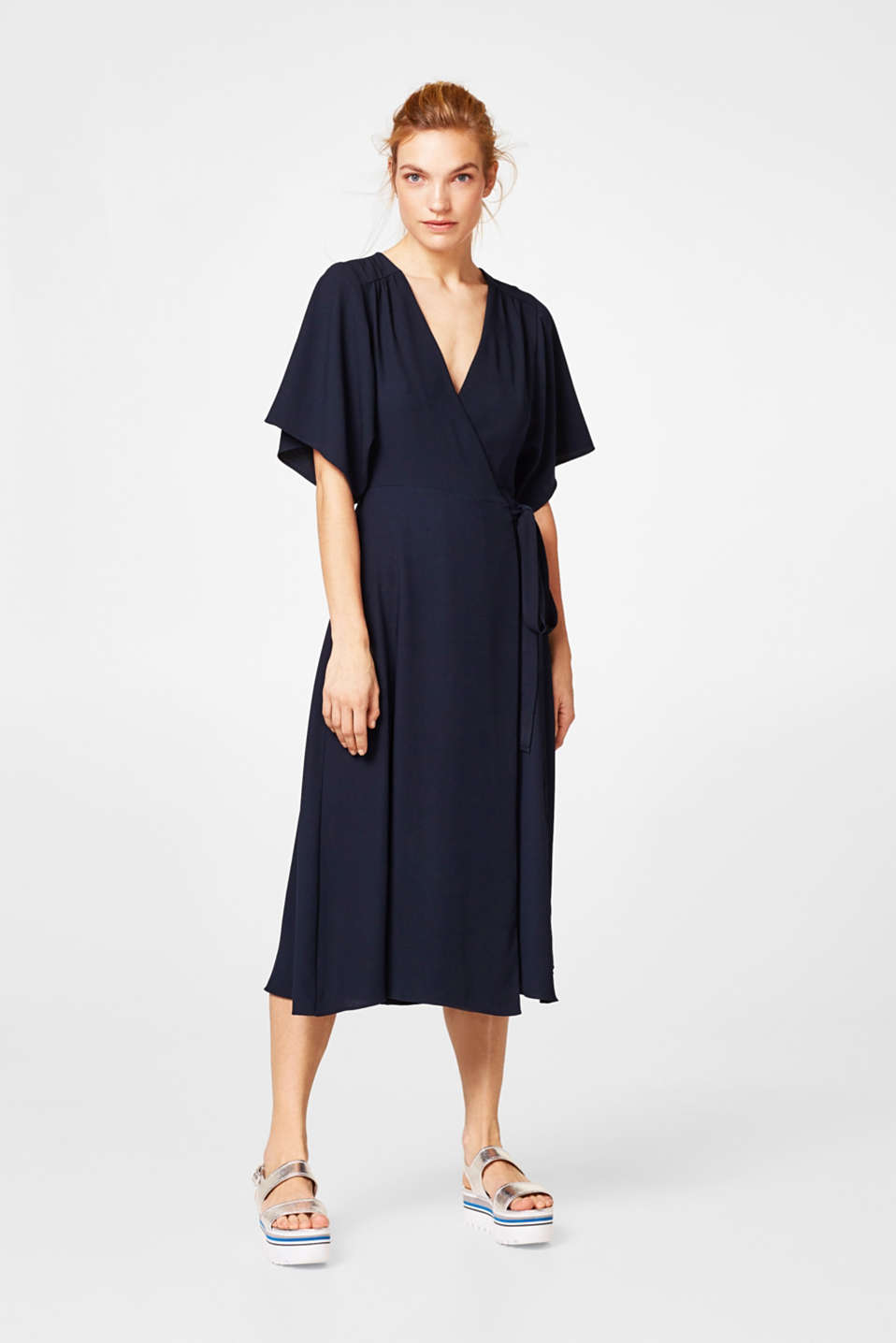 Midi crêpe dress with a wrap-over effect