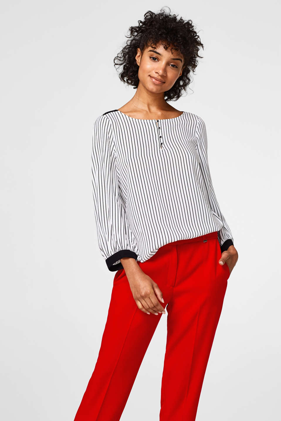 Esprit - Lightweight textured blouse with stripes