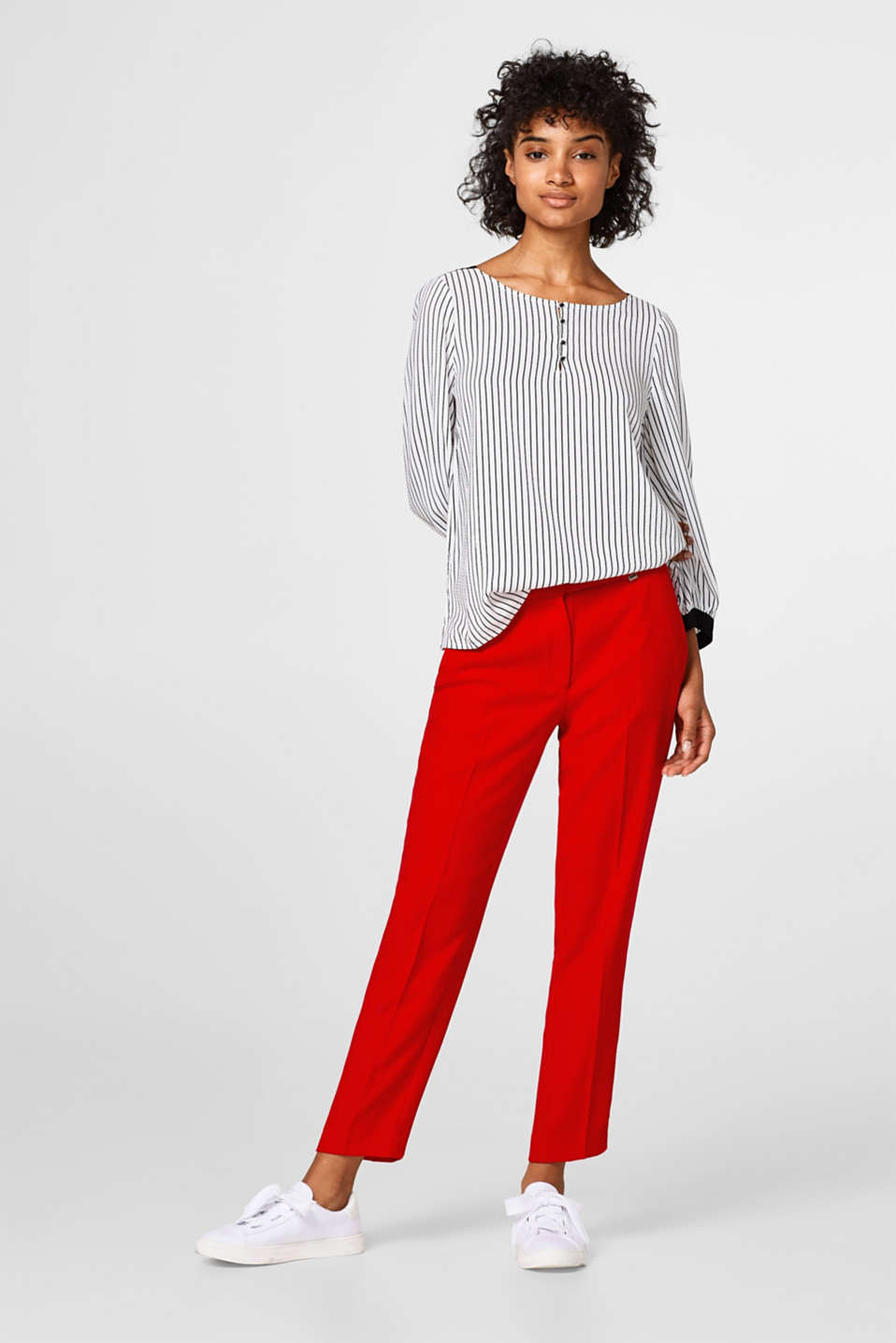 Lightweight textured blouse with stripes