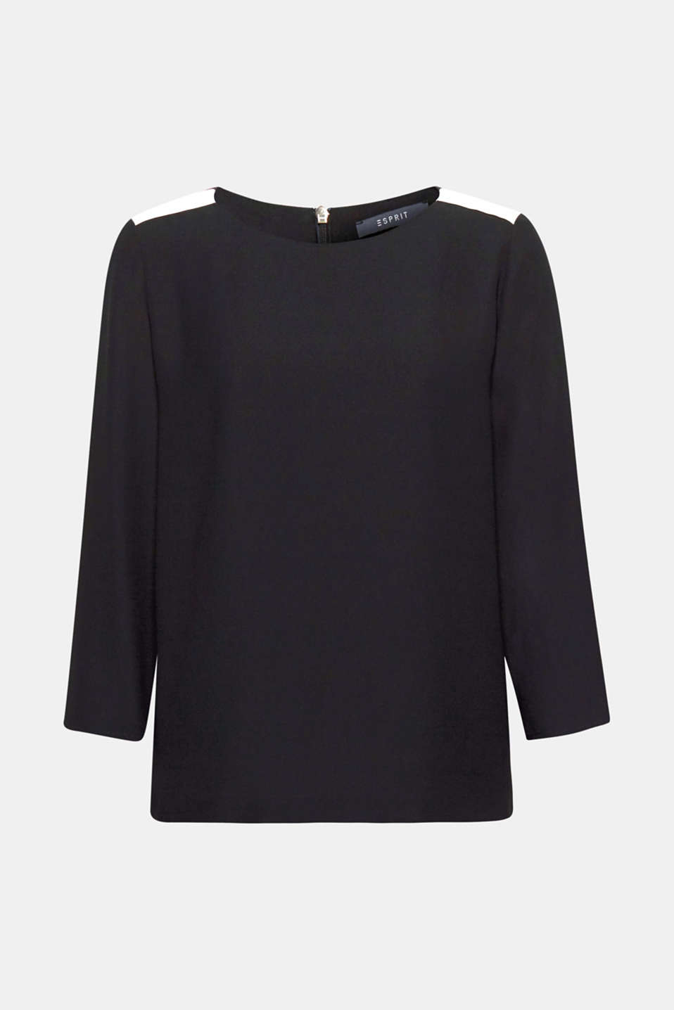Appliquéd grosgrain ribbon on the shoulders is new and eye-catching on this crêpe blouse with 3/4-length sleeves.