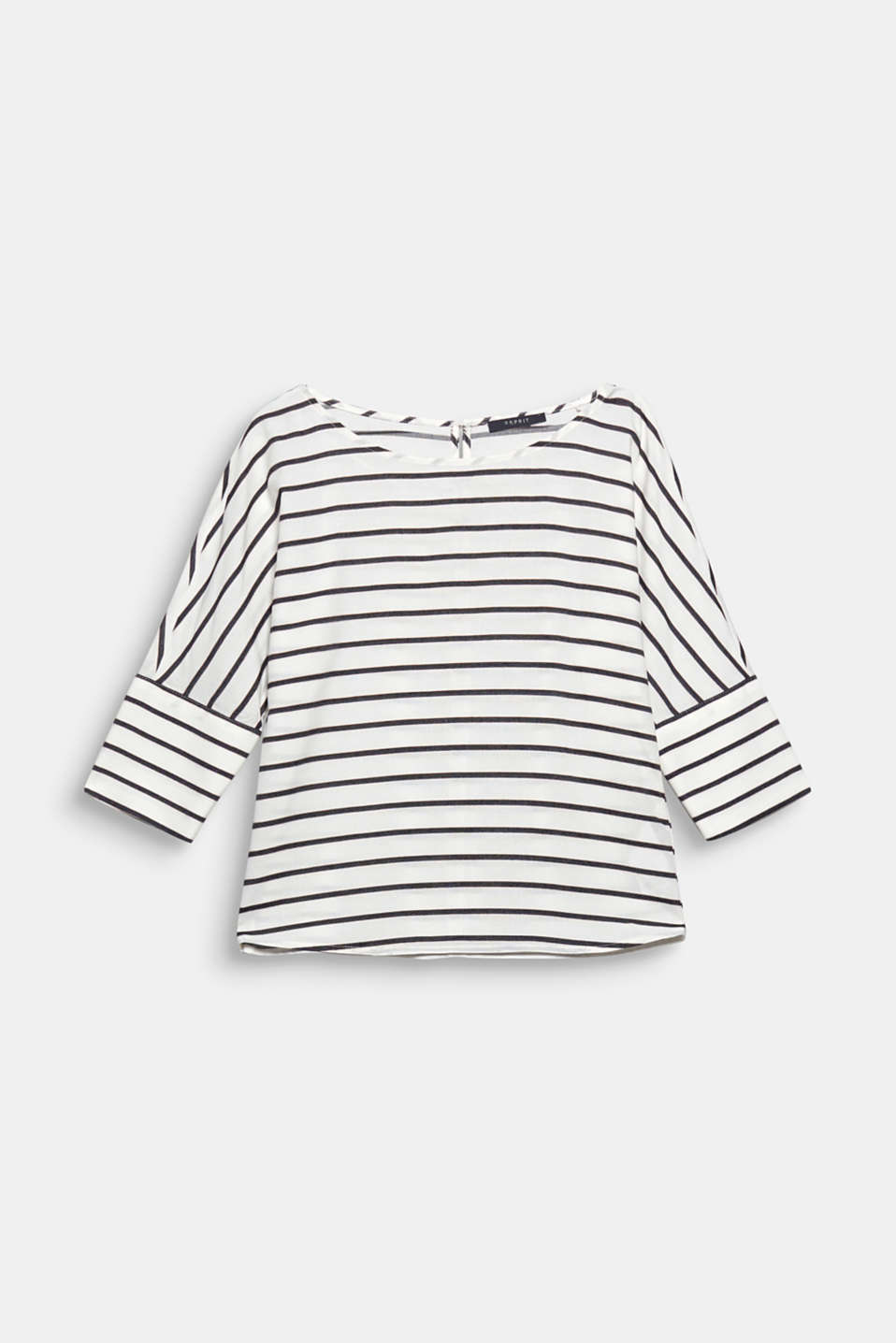 This blouse with 3/4-length batwing sleeves and wide cuffs is loose, casual and striped!
