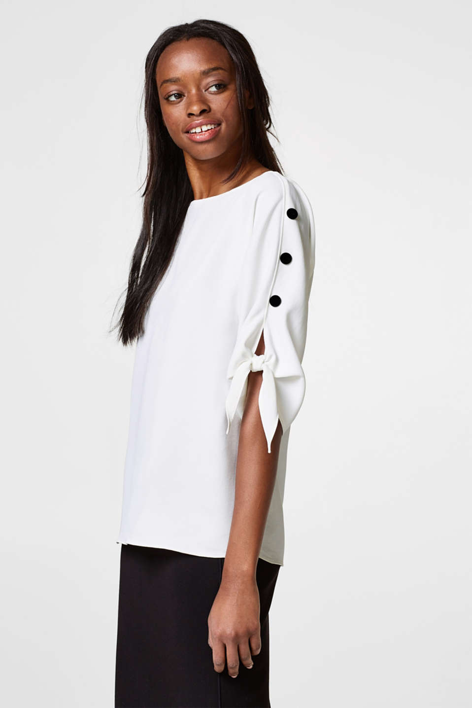 Esprit - Textured blouse with decorated sleeves