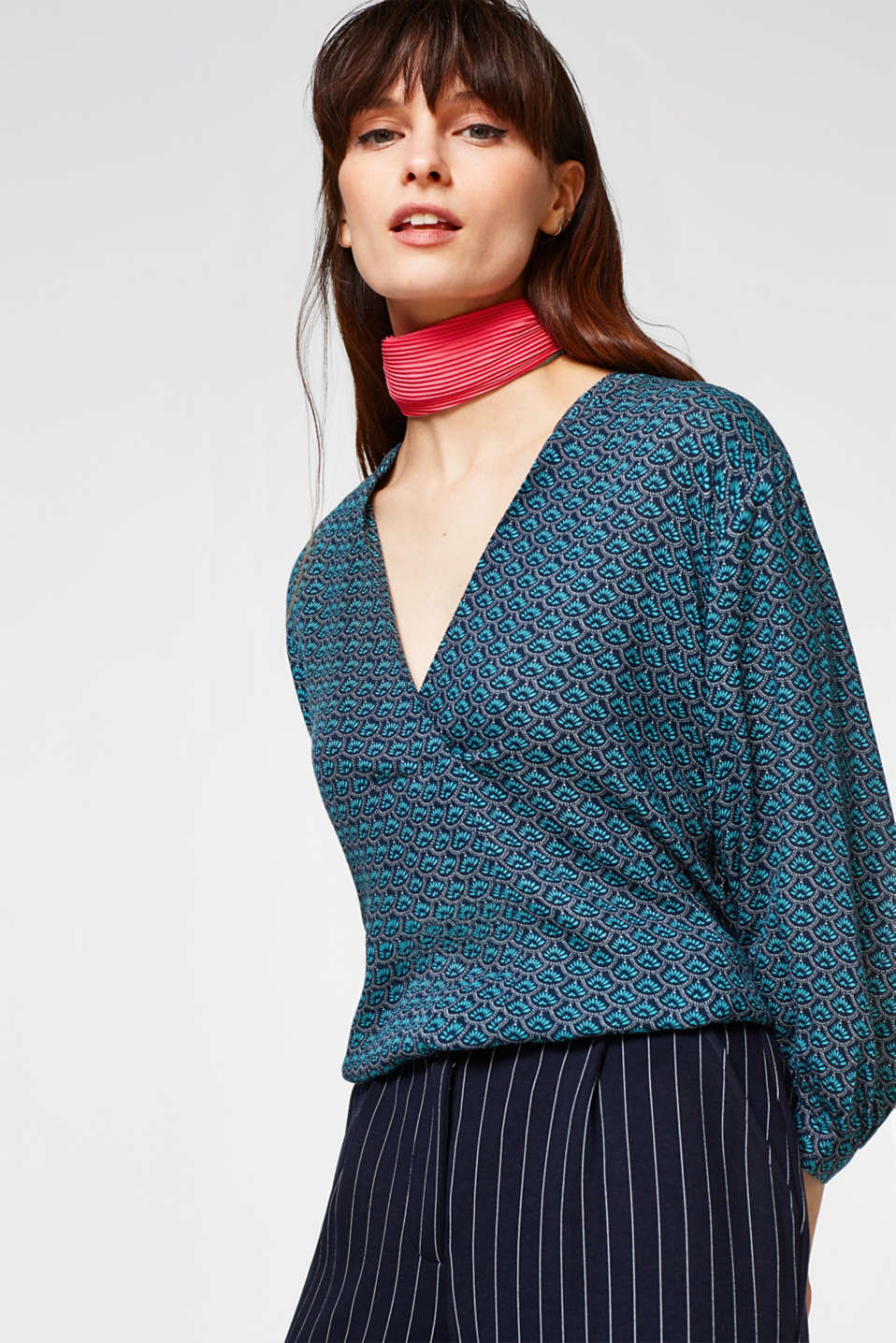 Esprit - Flowing blouse with balloon sleeves