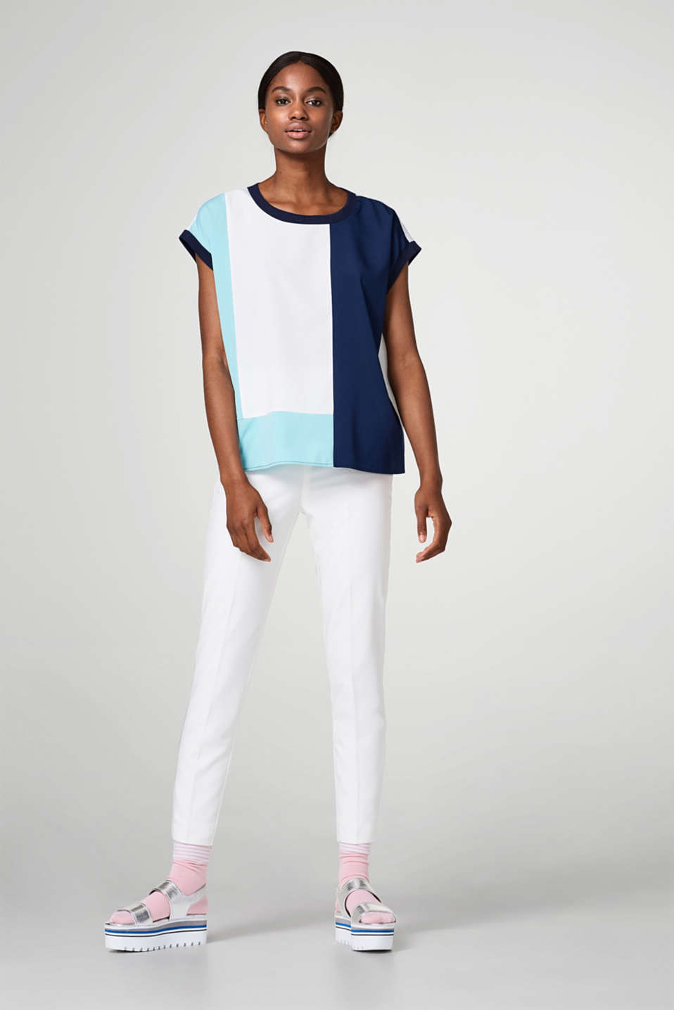 Esprit - Lightweight blouse top with colour blocking