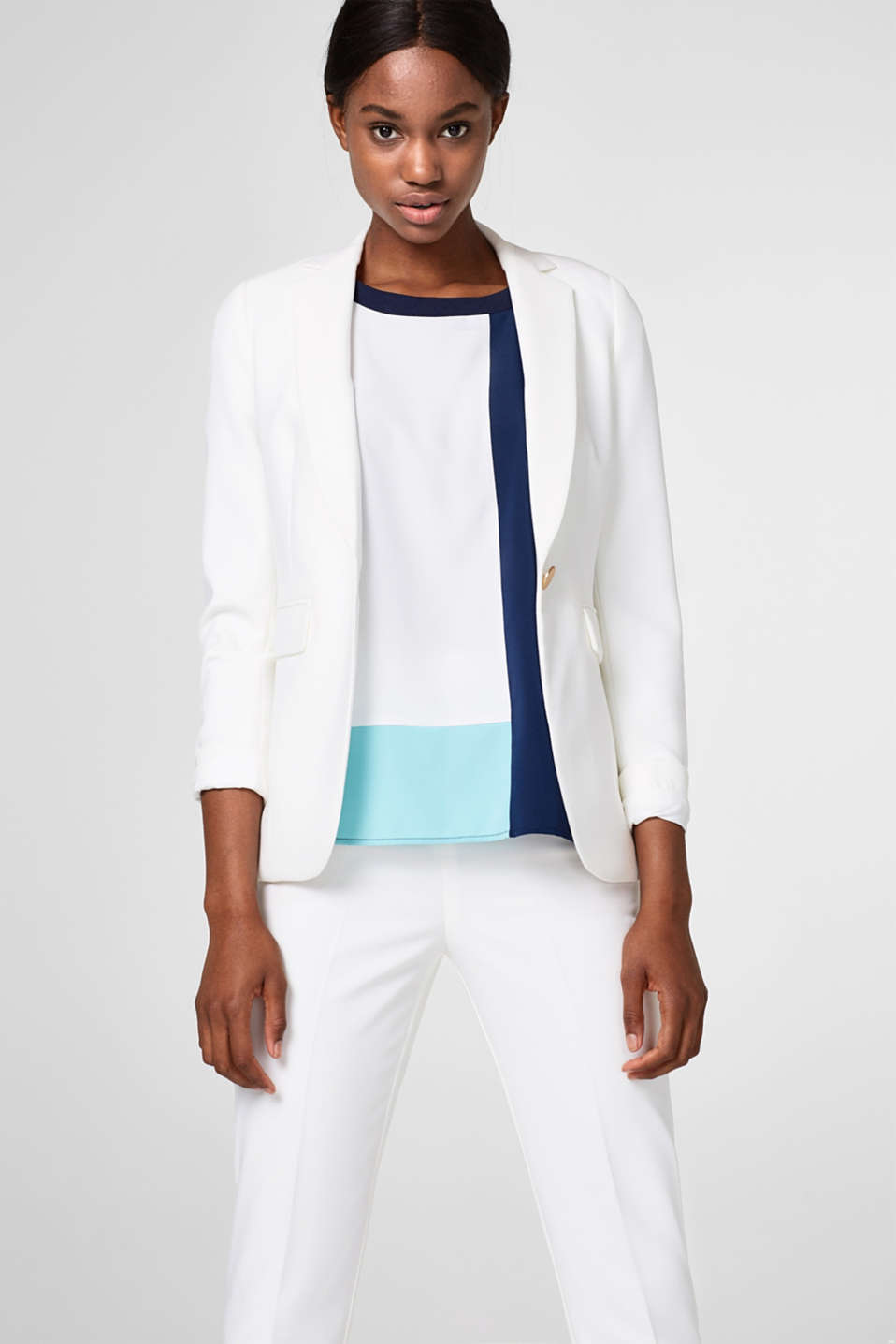 Lightweight blouse top with colour blocking