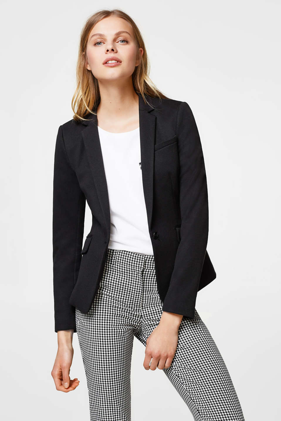 Esprit - Fitted one-button blazer in piqué