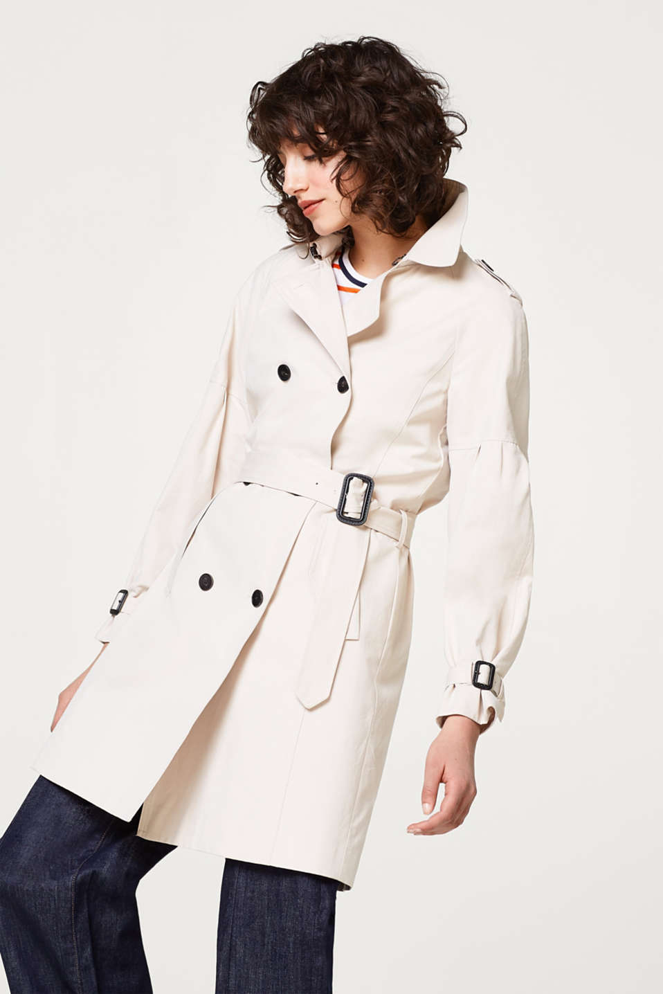 Esprit - Soft trench coat with balloon sleeves
