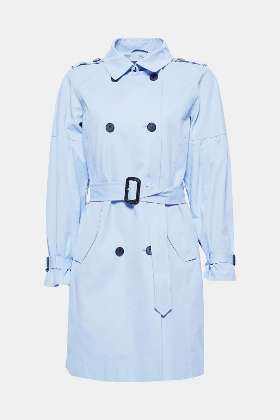 The soft outer surface and fashionable balloon sleeves give this knee-length trench coat its trendy kick!