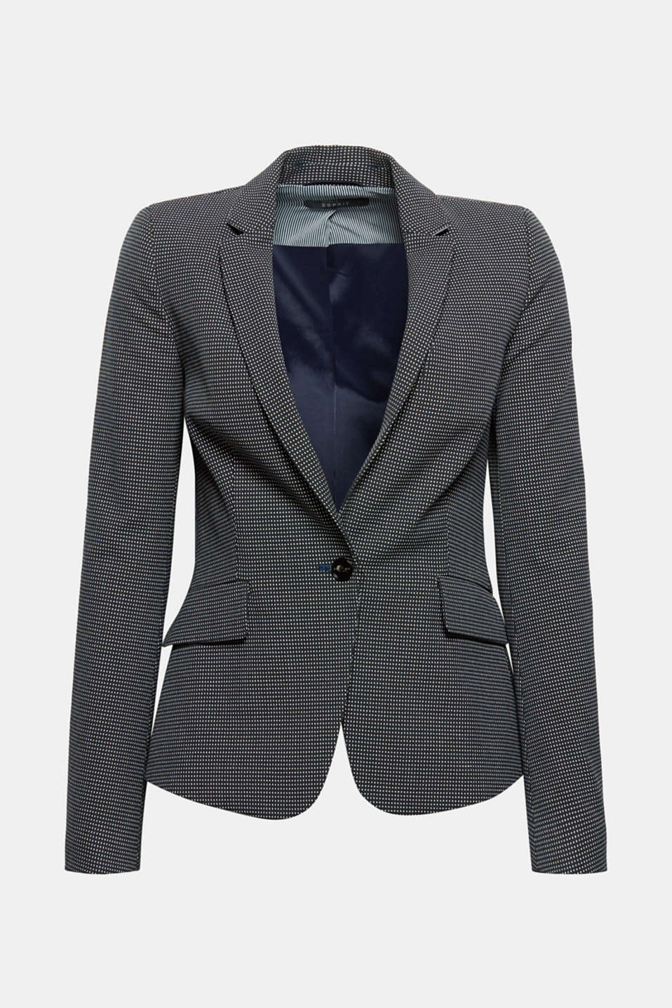The fine texture makes this figure-hugging, comfy and stretchy 1-button blazer look absolutely stunning!