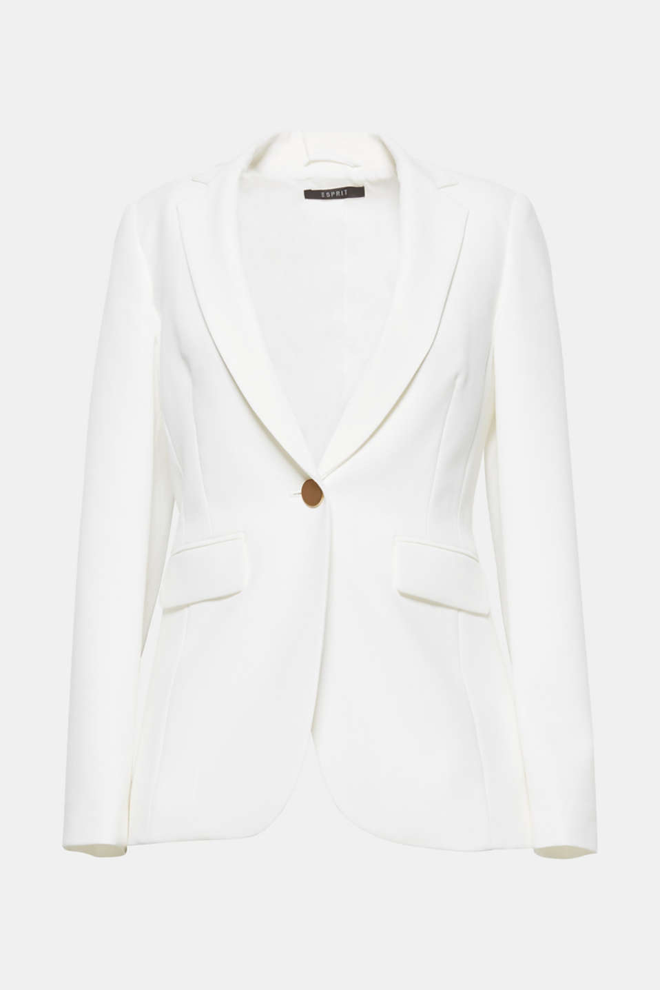 This elegant pure white blazer is perfect for the bride: flowing crêpe blazer.