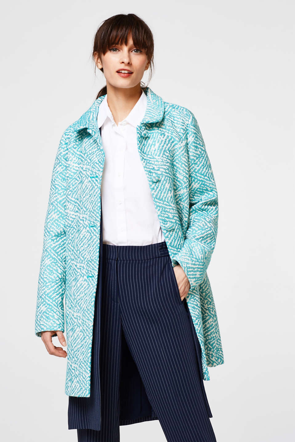 Esprit - Jacquard coat with cotton