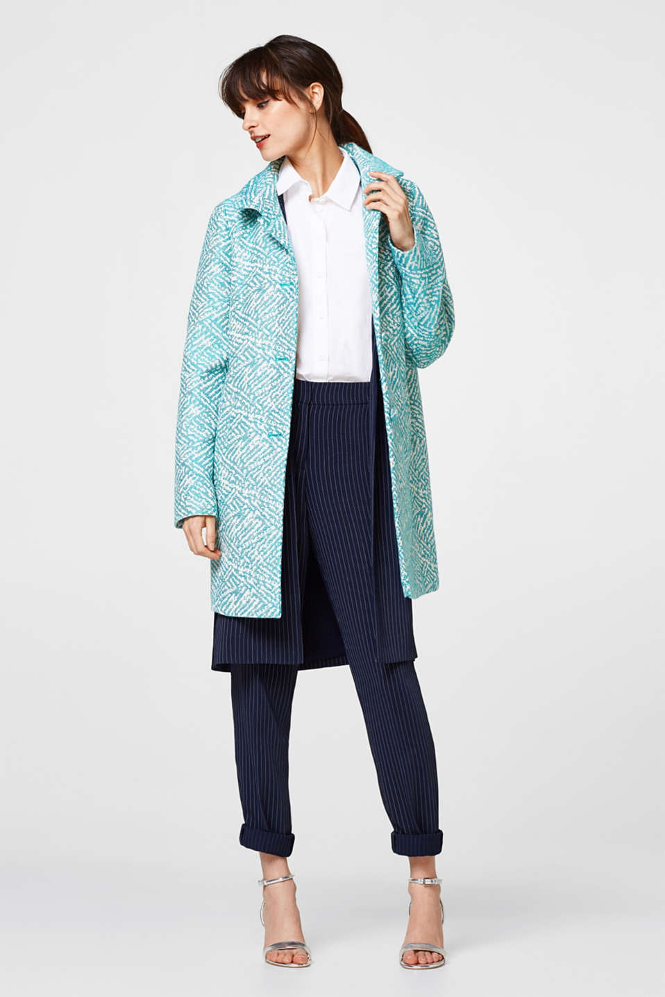 Jacquard coat with cotton