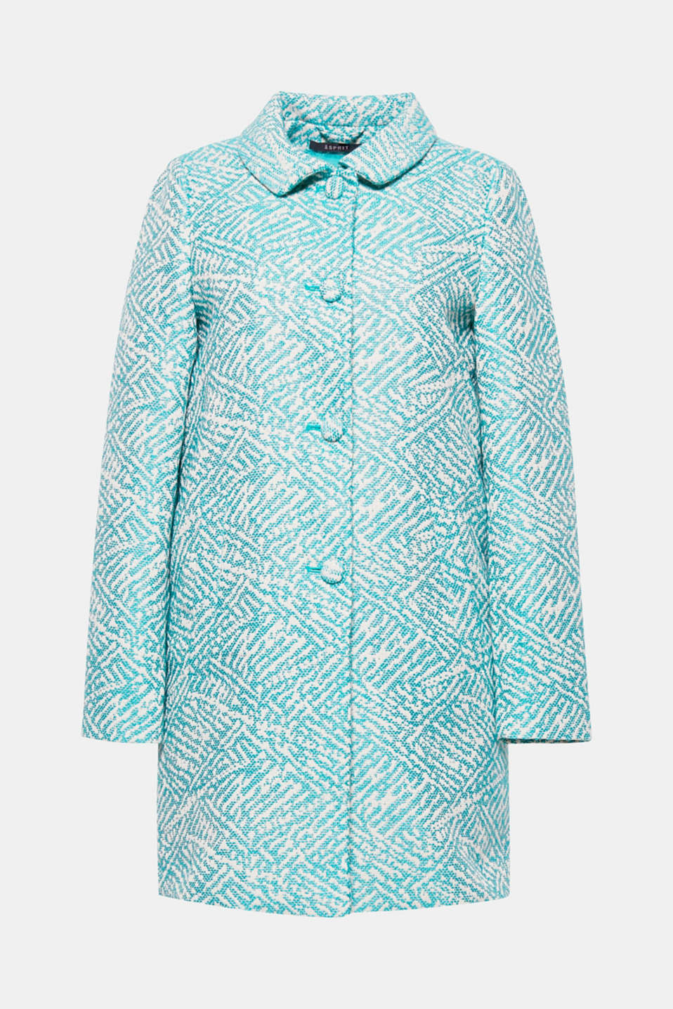 The trendy A-line design and striking jacquard pattern give this coat its stylish flair.