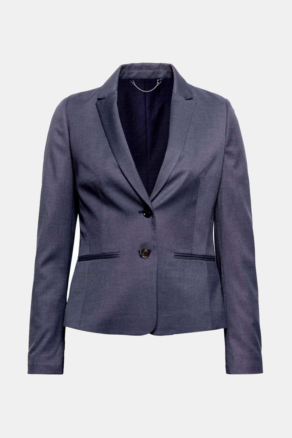 Business look in a fine, smooth two-tone fabric: This fitted blazer makes a complete outfit when paired with the right trousers!