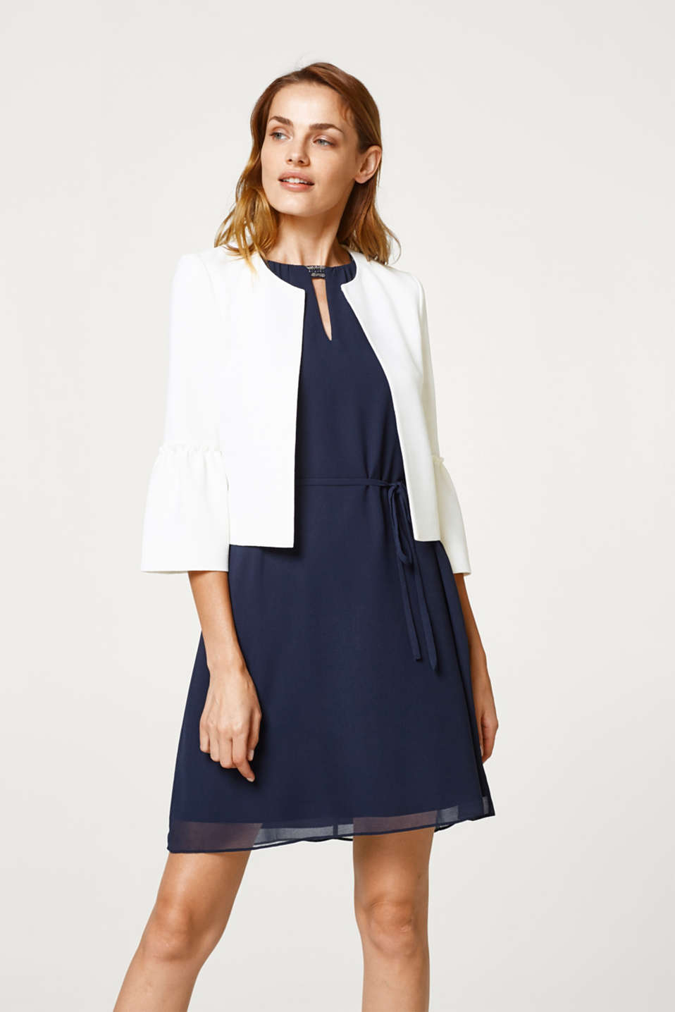 Esprit - Short textured jacket with flounce sleeves