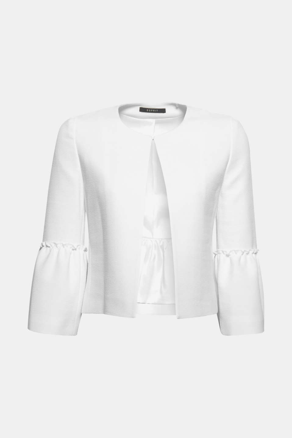 Makes your look super chic: textured, bolero jacket with three-quarter length flounce sleeves.