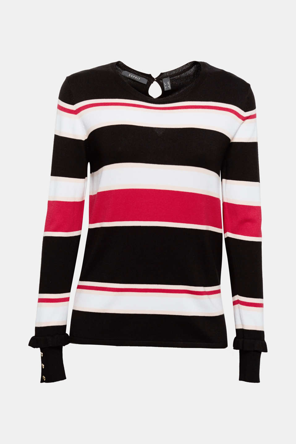 Frills on the sleeve cuffs give this jumper–in plain or striped–a fashion kick!