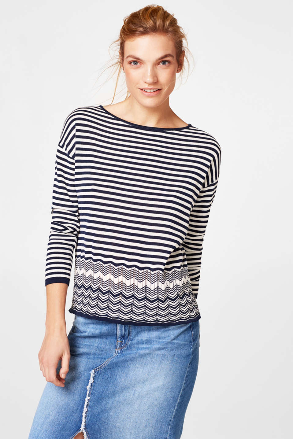 Esprit - Sporty fine knit jumper in a mix of patterns