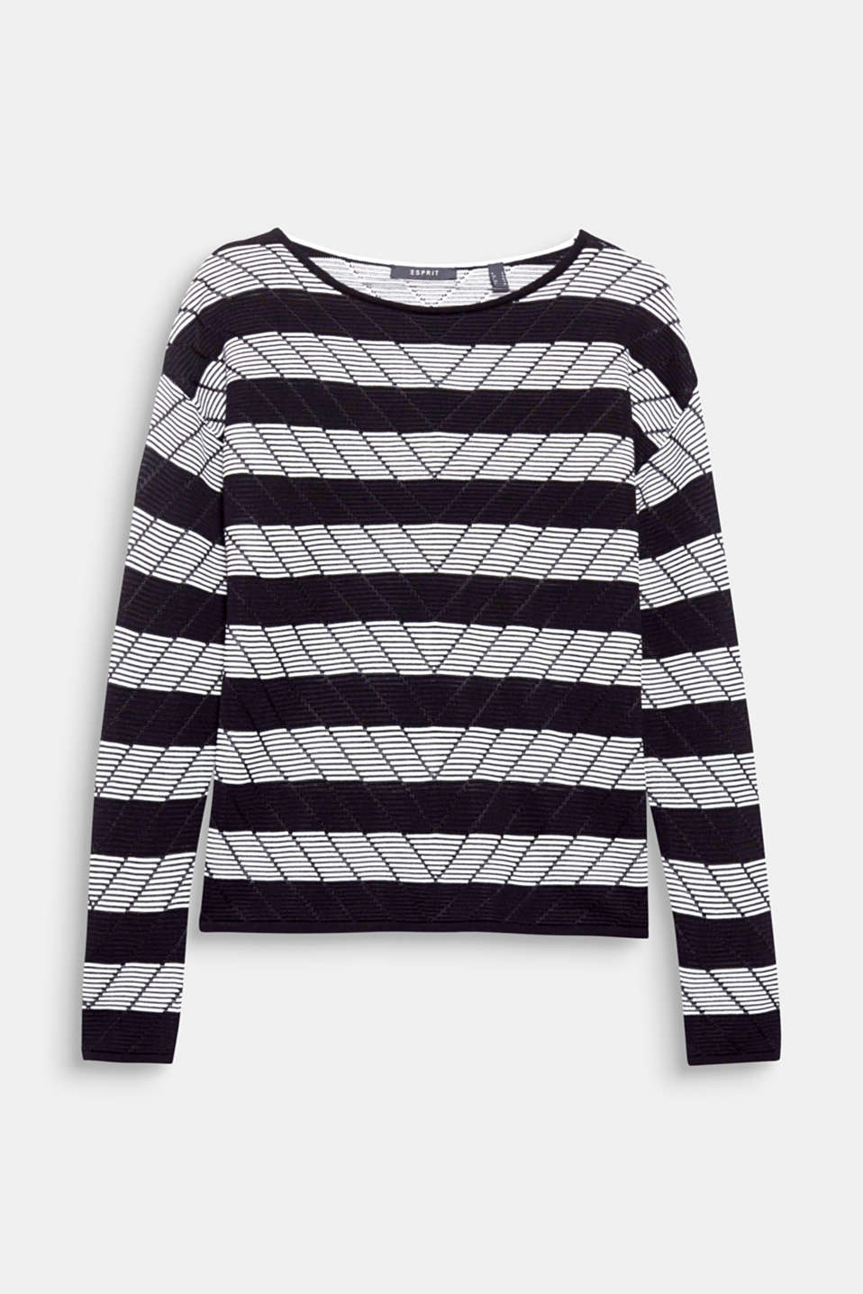 A lot going on here: block stripes, diagonal stripes and the semi sheer look make this jumper oh so stylish!