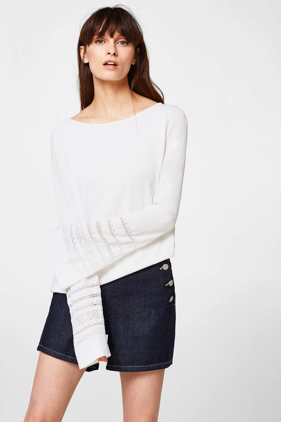 Esprit - Jumper with openwork trumpet sleeves