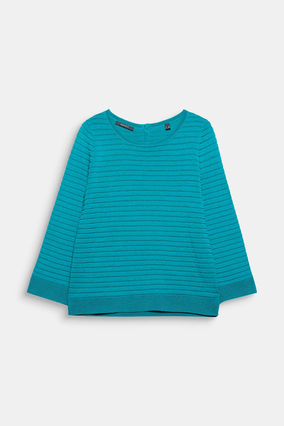 This jumper is bang up to date, with a ribbed texture, a button placket at the back and flared sleeves!
