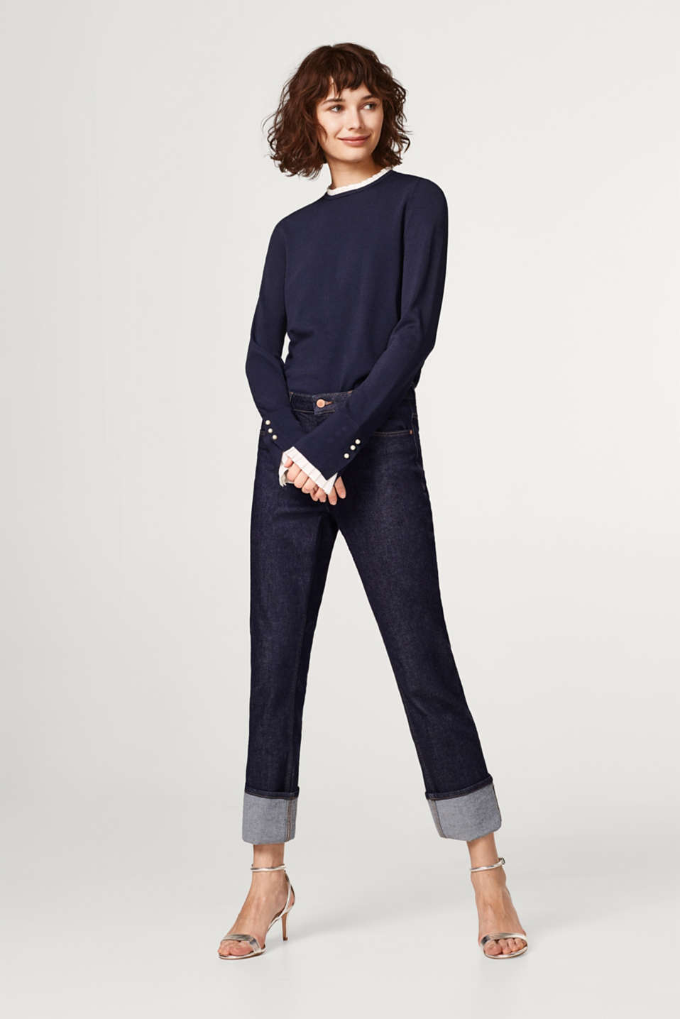 Soft jumper with pleated details