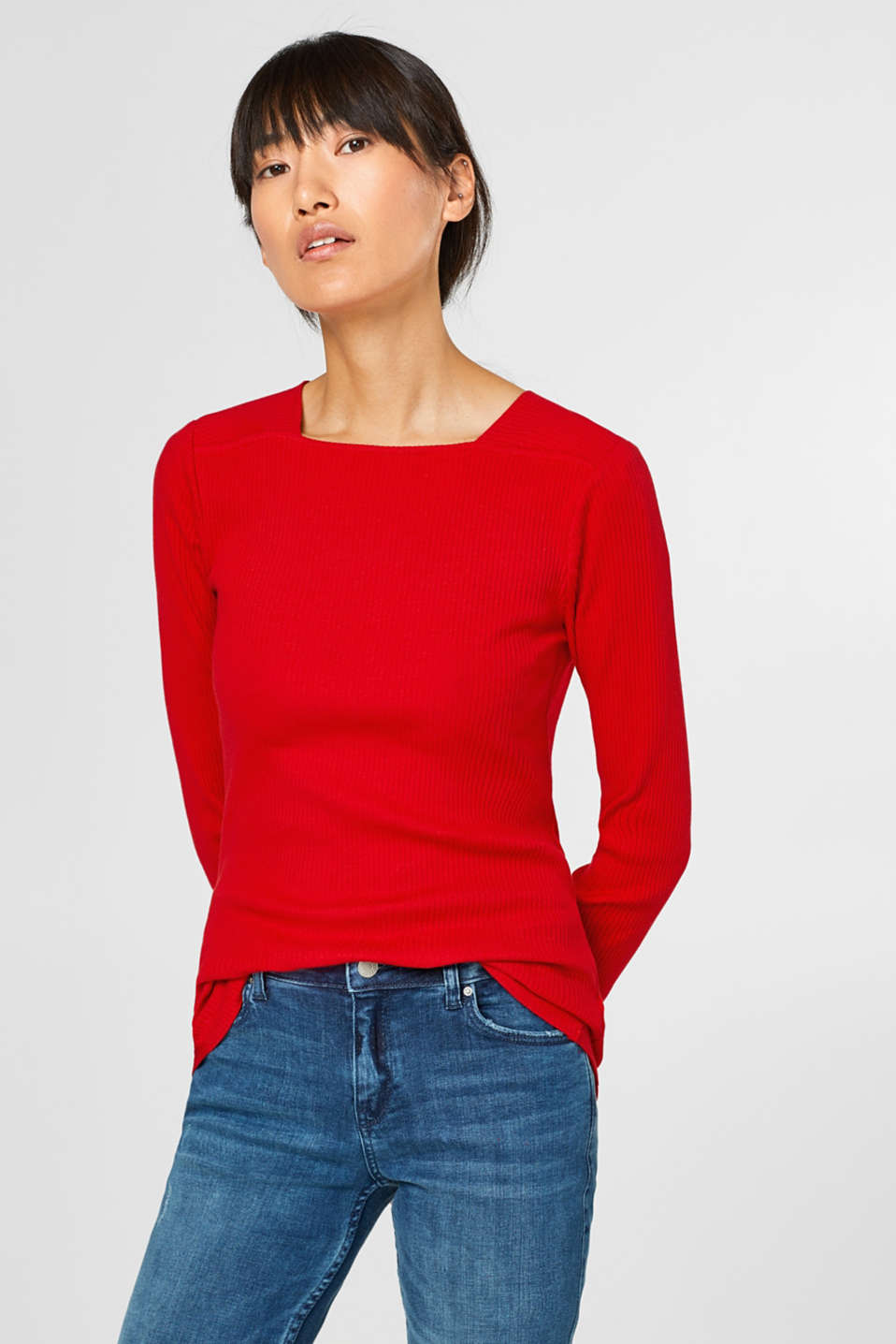 Esprit - Ribbed long sleeve top + square neckline