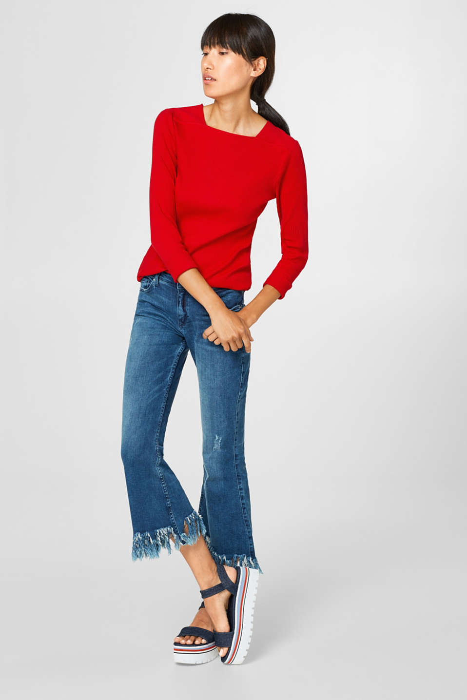 Ribbed long sleeve top + square neckline