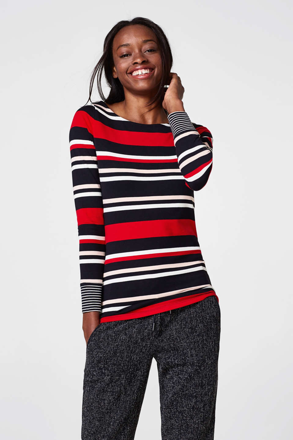 Esprit - Soft long sleeve top with striped cuffs