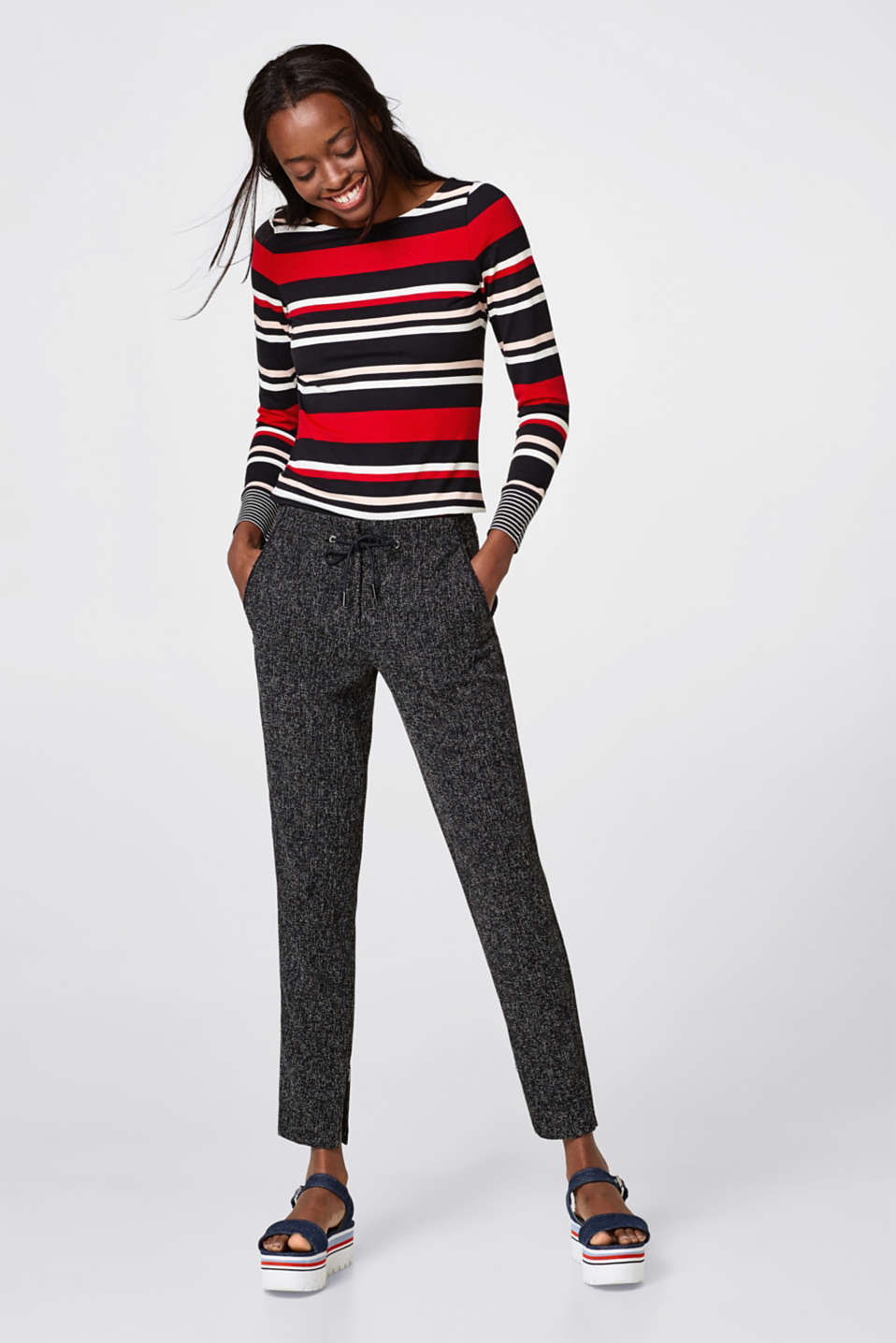 Soft long sleeve top with striped cuffs