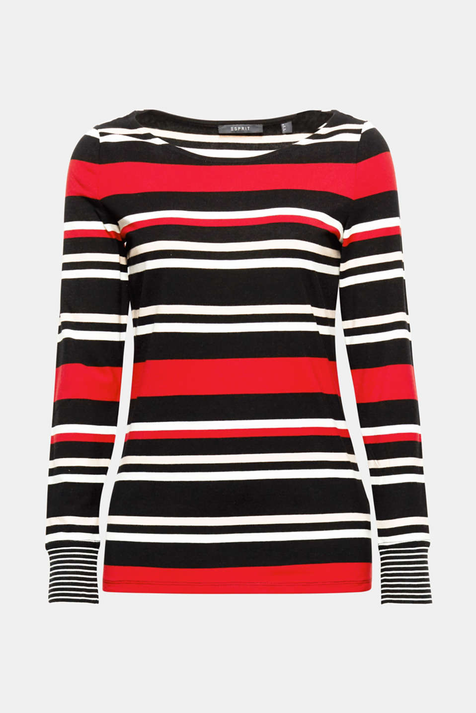 Striped or plain: this lightweight long sleeve top with a bateau neckline sports striped cuffs for both.