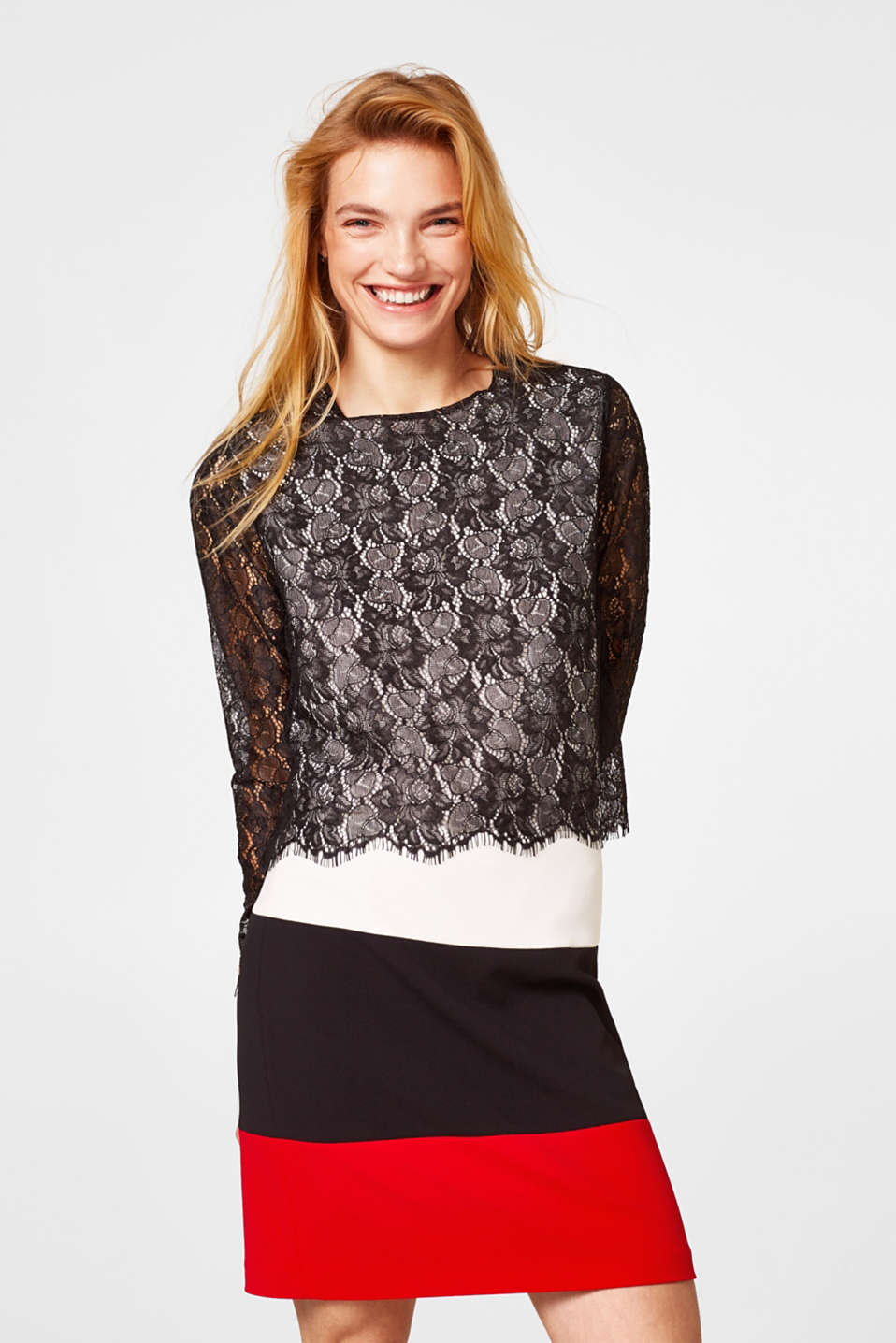 Esprit - Layered long sleeve top in fabric and lace