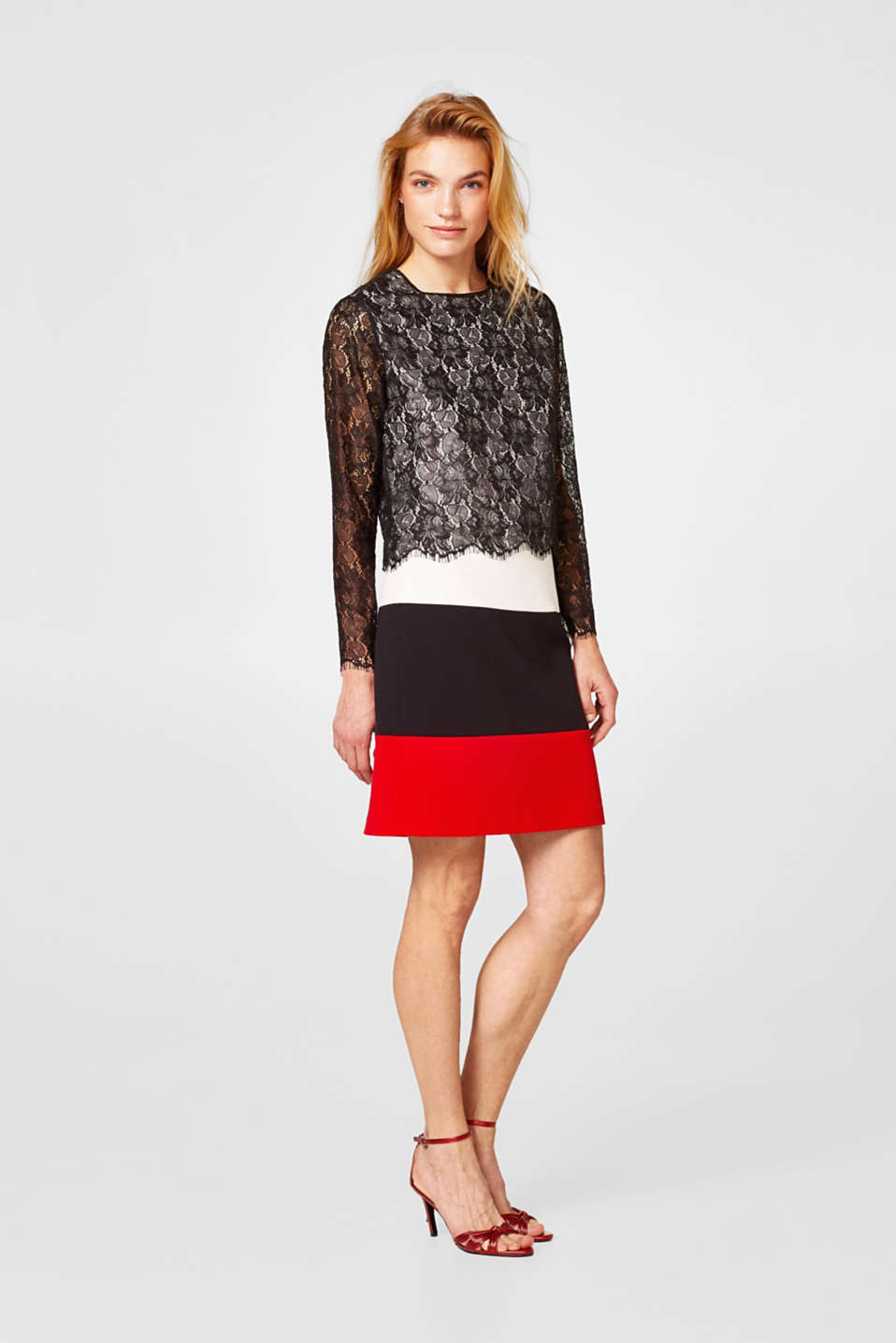 Layered long sleeve top in fabric and lace