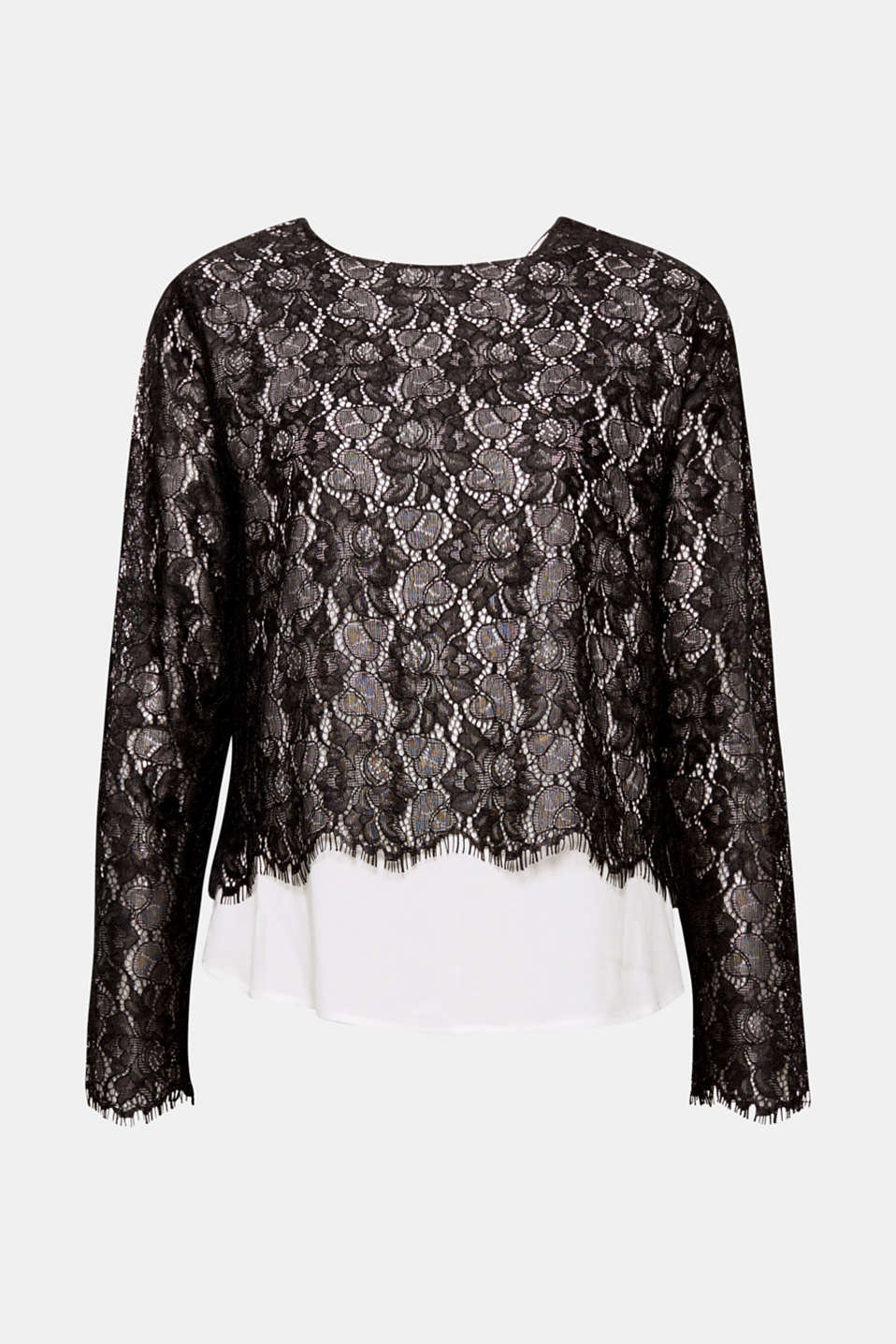 Opaque and sheer, pale and dark - this feminine long sleeve lace top is full of exciting contrasts!