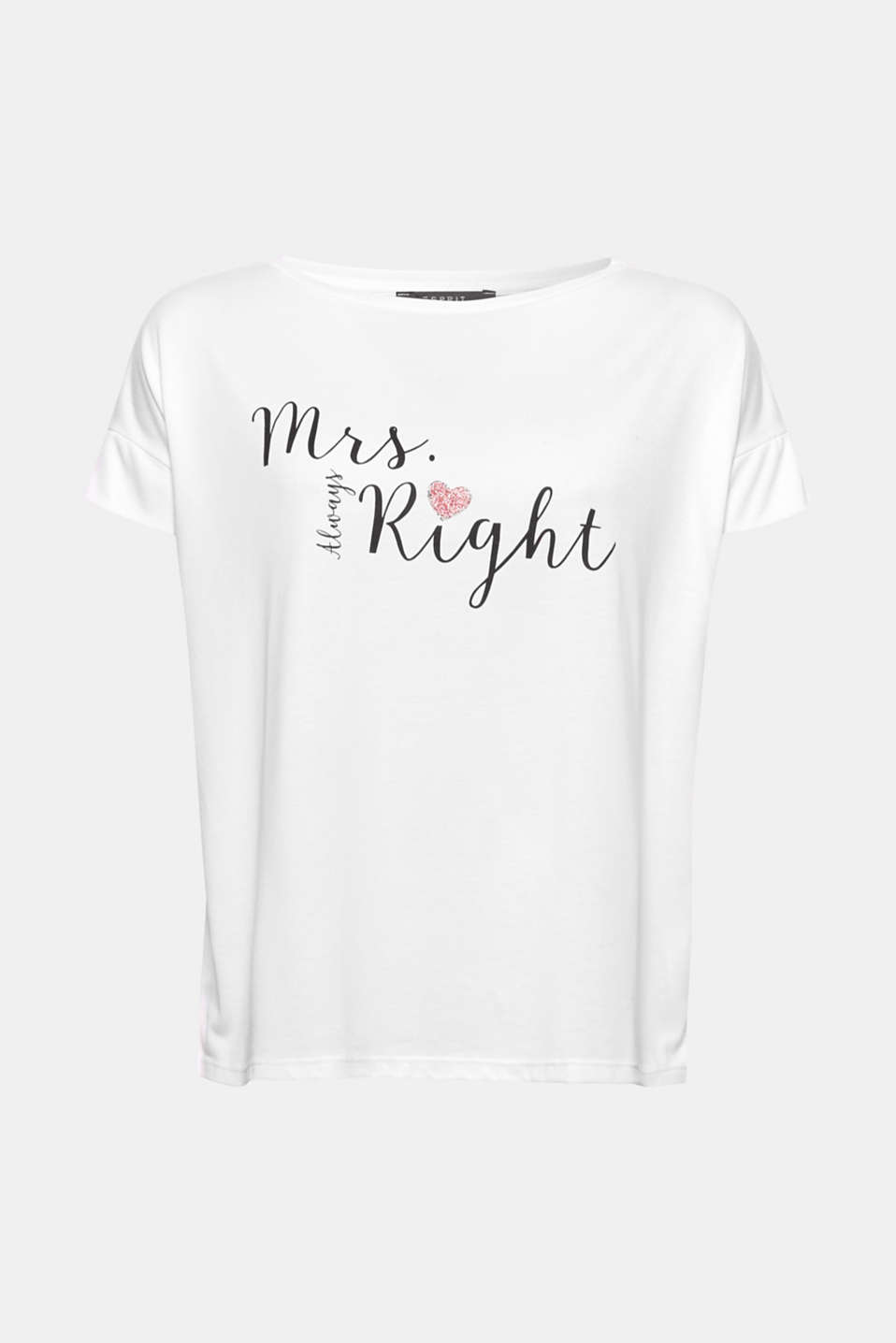 A T-shirt for the (future) bride: in smooth jersey with a matching statement print and glittery decoration!