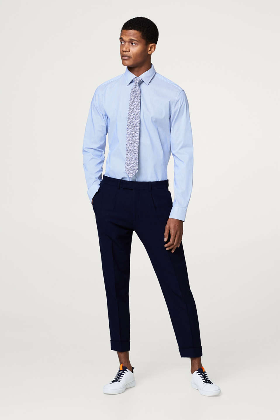 Esprit - Textured suit trousers, 100% cotton