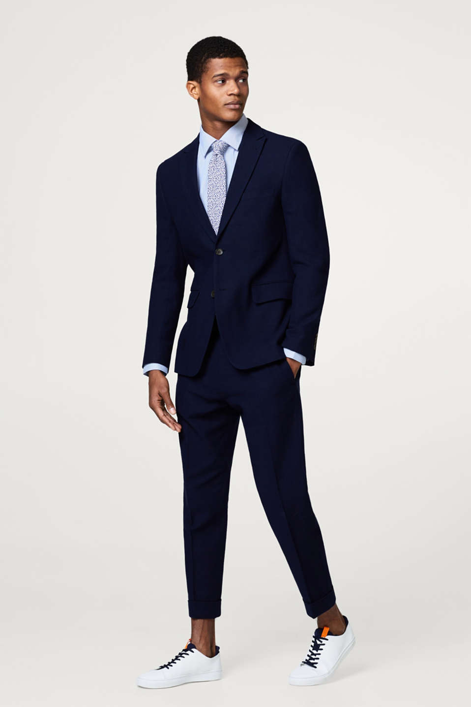 Textured suit trousers, 100% cotton