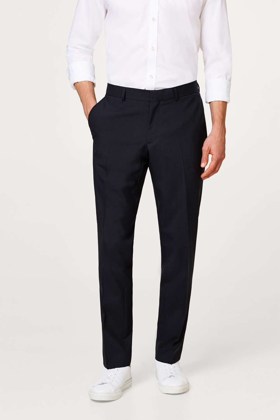 Esprit - Suit trousers with fine stripes and new wool