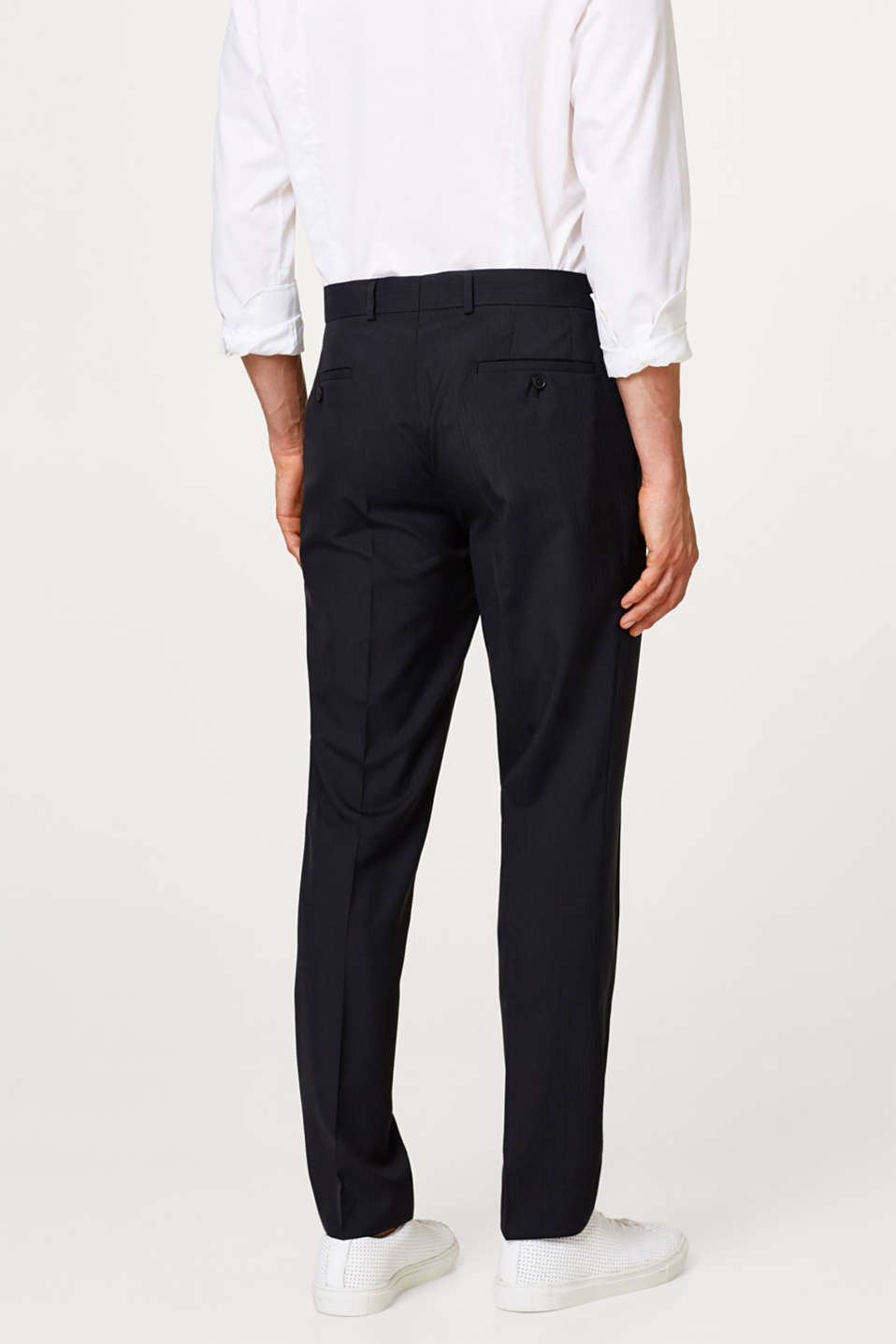 Suit trousers with fine stripes and new wool