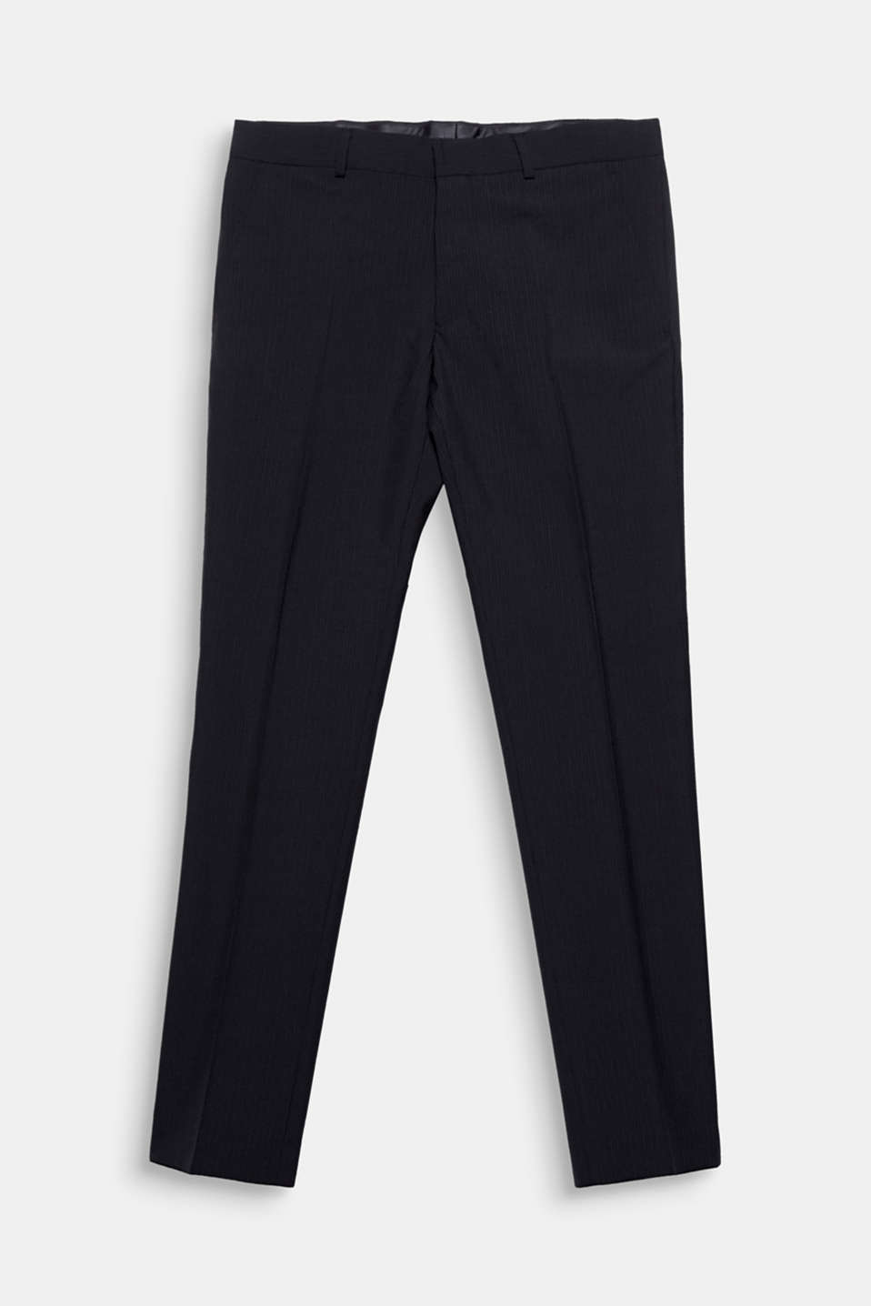 We love texture! Fine vertical stripes and high-quality new wool give these suit trousers an elegant look.