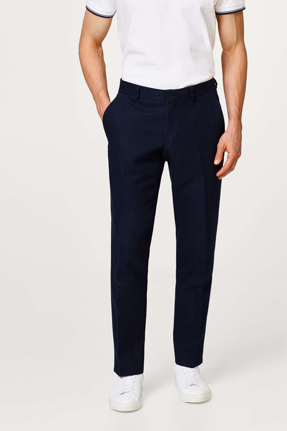 Esprit - Finely textured suit trousers in cotton