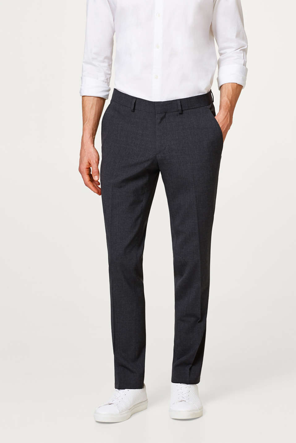 Esprit - Slim fitting suit trousers with new wool