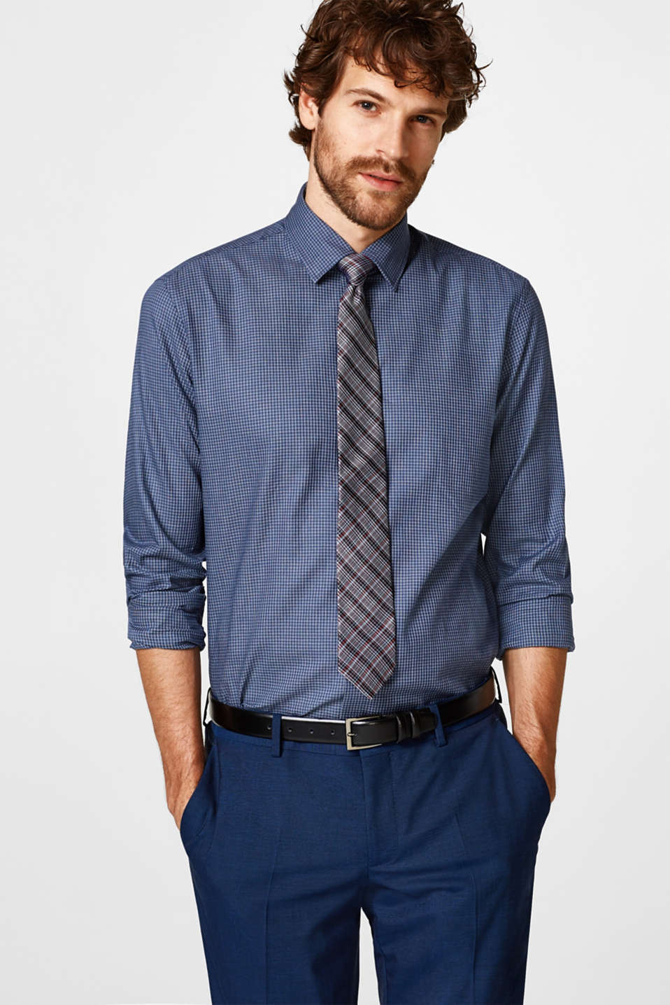 Esprit - Easy-iron stretch cotton shirt with a pattern