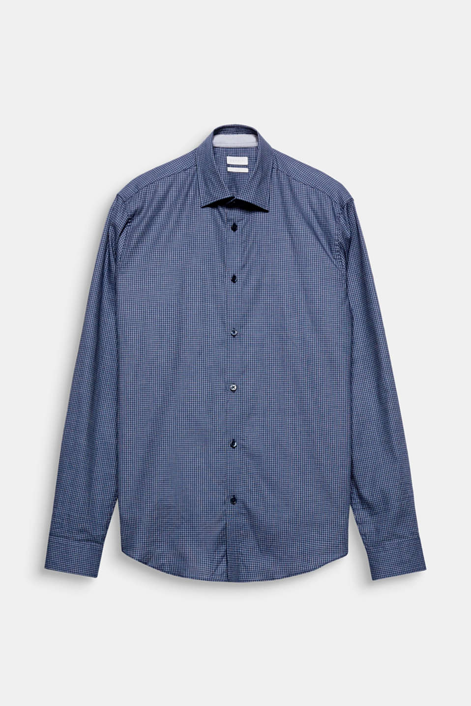 Suit up! The fine lattice pattern gives this easy-iron business shirt a smart look.